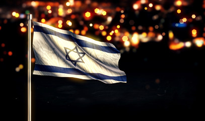 Israel National Flag City Light Night Bokeh Background 3D