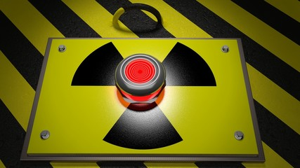 Nuclear warning sign with red button background