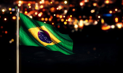 Brazil National Flag City Light Night Bokeh Background 3D