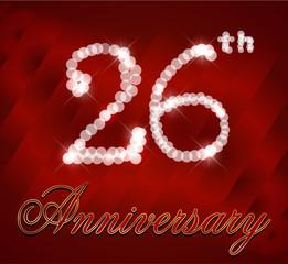 26 year happy birthday card, 26th anniversary sparkles