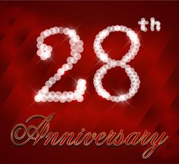 28 year happy birthday card, 28th anniversary sparkles