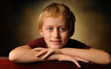 Portrait of a cheerful 10 year old boy