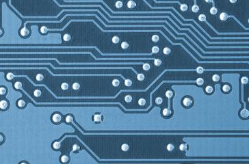 closeup of a printed circuit board