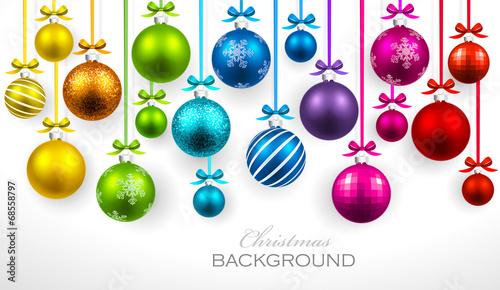 Christmas balls with ribbon and bows - 68558797