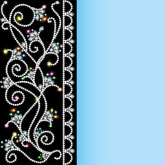 background with a pattern of precious stones and flowers