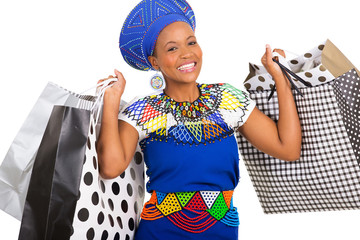 south african woman carrying shopping bags