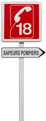 panneau directionnel 18, 112, sapeurs pompiers