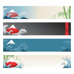 Set of japanese banners for design