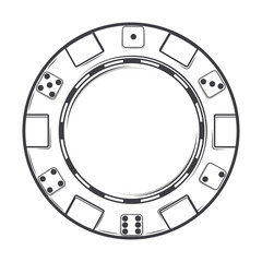 Single casino chip isolated on a white background. Line art