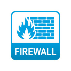 Etiqueta tipo app azul FIREWALL