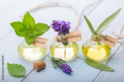 Ätherische Öle - Minze, Lavendel, Salbei - 68559518