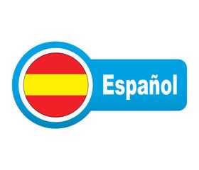 Etiqueta tipo app azul alargada Español