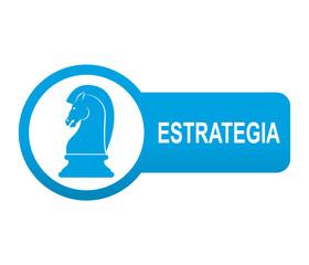 Etiqueta tipo app azul alargada ESTRATEGIA