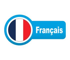Etiqueta tipo app azul alargada Français