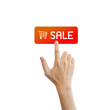 Sell button with real hand isolated on white background