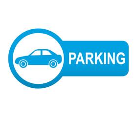 Etiqueta tipo app azul alargada PARKING para coches