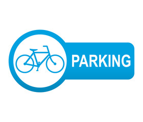 Etiqueta tipo app azul alargada PARKING para bicicletas