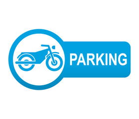 Etiqueta tipo app azul alargada PARKING para motos