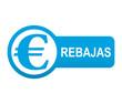 Etiqueta tipo app azul alargada REBAJAS