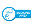 Etiqueta tipo app azul alargada SMOKING AREA