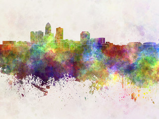 Des Moines skyline in watercolor background