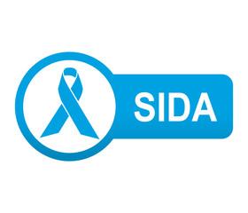 Etiqueta tipo app azul alargado SIDA