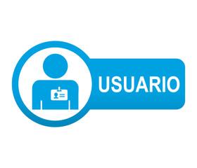 Etiqueta tipo app azul alargada USUARIO