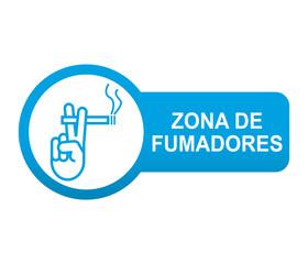 Etiqueta tipo app azul alargada ZONA DE FUMADORES