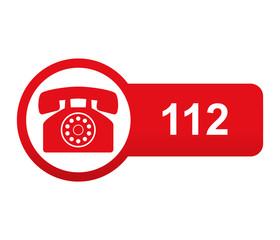 Etiqueta tipo app roja alargada 112