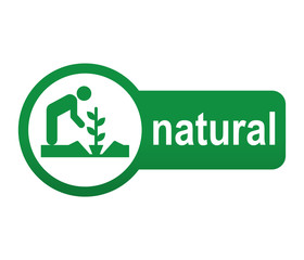 Etiqueta tipo app verde alargada NATURAL