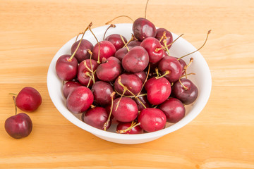 Bowl of Cherries with Two on Table