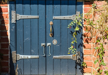 Hasps on Old Blue Doors