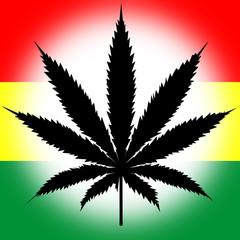 feuille de cannabis aux couleurs de la Jamaïque