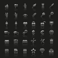 Set of universal silver icons