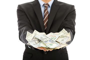 closeup of businessman holding  us dollar with white background
