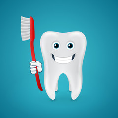Happy tooth with red toothbrush