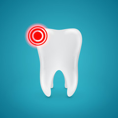 inflamed area on the healthy human teeth