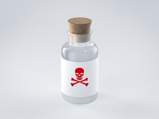 poison glass bottle with skull label