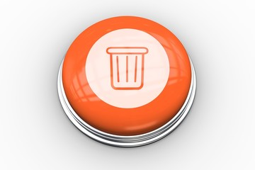 Trash graphic on orange button