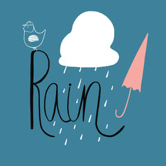 Doodle rain illustration with handlettering