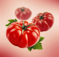 ripe tomatos with leaf