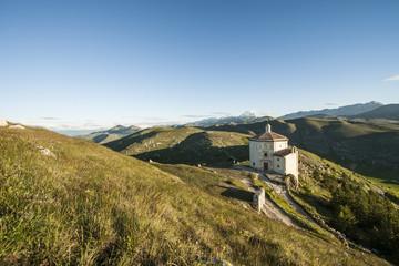 the ruins of the castle of Rocca Calascio in Abruzzo, Italy