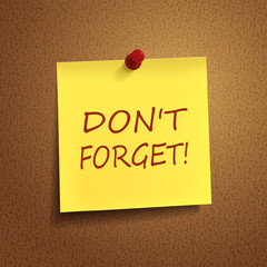 do not forget words on post-it