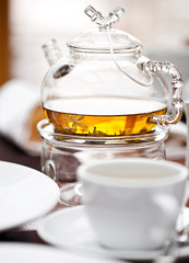 Glass Teapot with tea