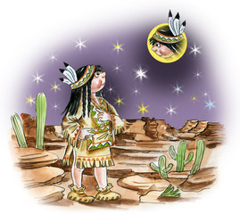 Illustration of north american indian girl watching moon