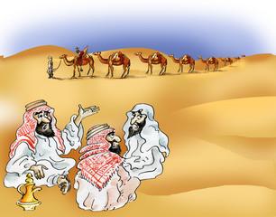 Bedouins and camel caravan in desert