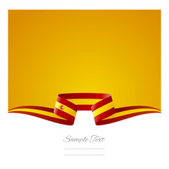 Abstract yellow background Spanish flag ribbon