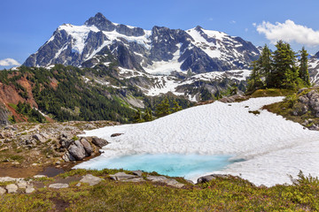 Mount Shuksan Blue Snow Pool Artist Point Washington State USA