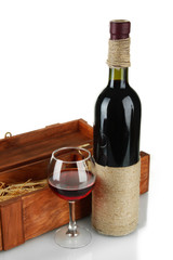 Red wine in box isolated on  white