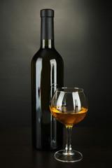 White wine isolated on  black